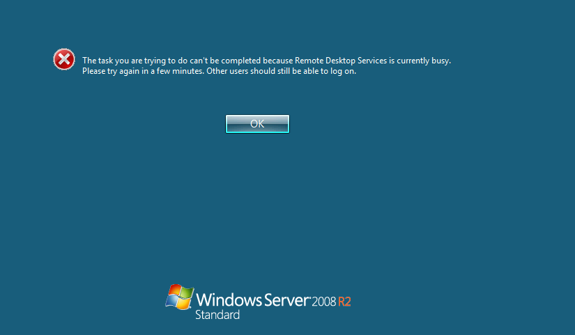 Remote Desktop Services Is Currently Busy