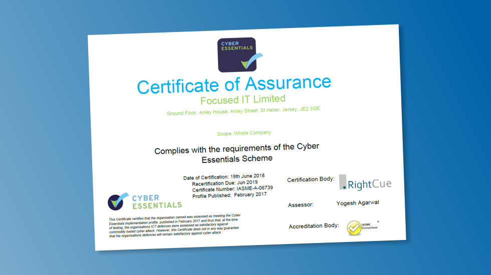 We've Attained Cyber Essentials Standard